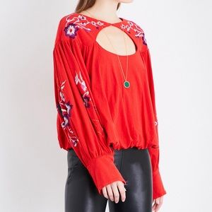 Free People | Embroidered Keyhole Blouse